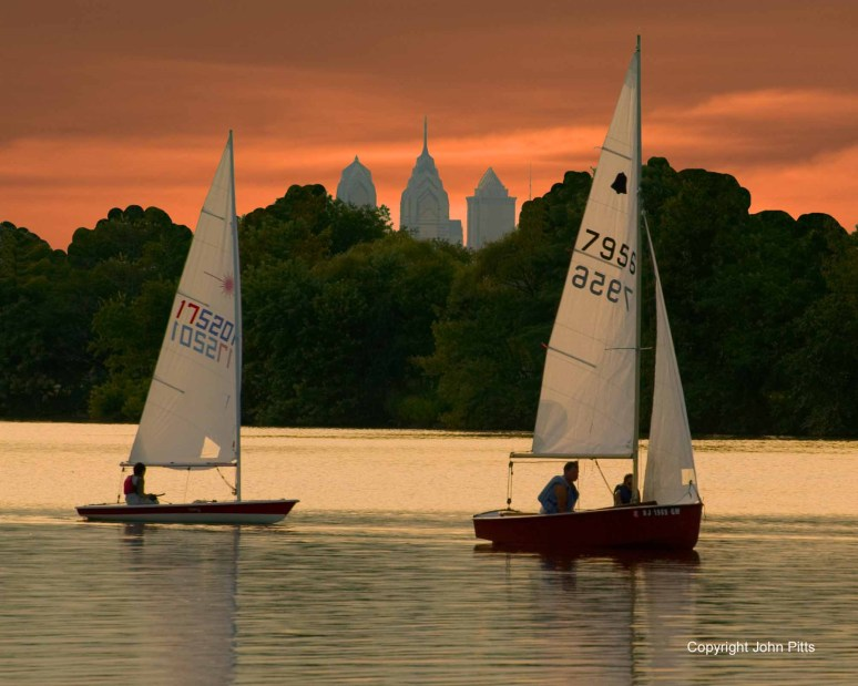 Sailboats at Dusk on Cooper River